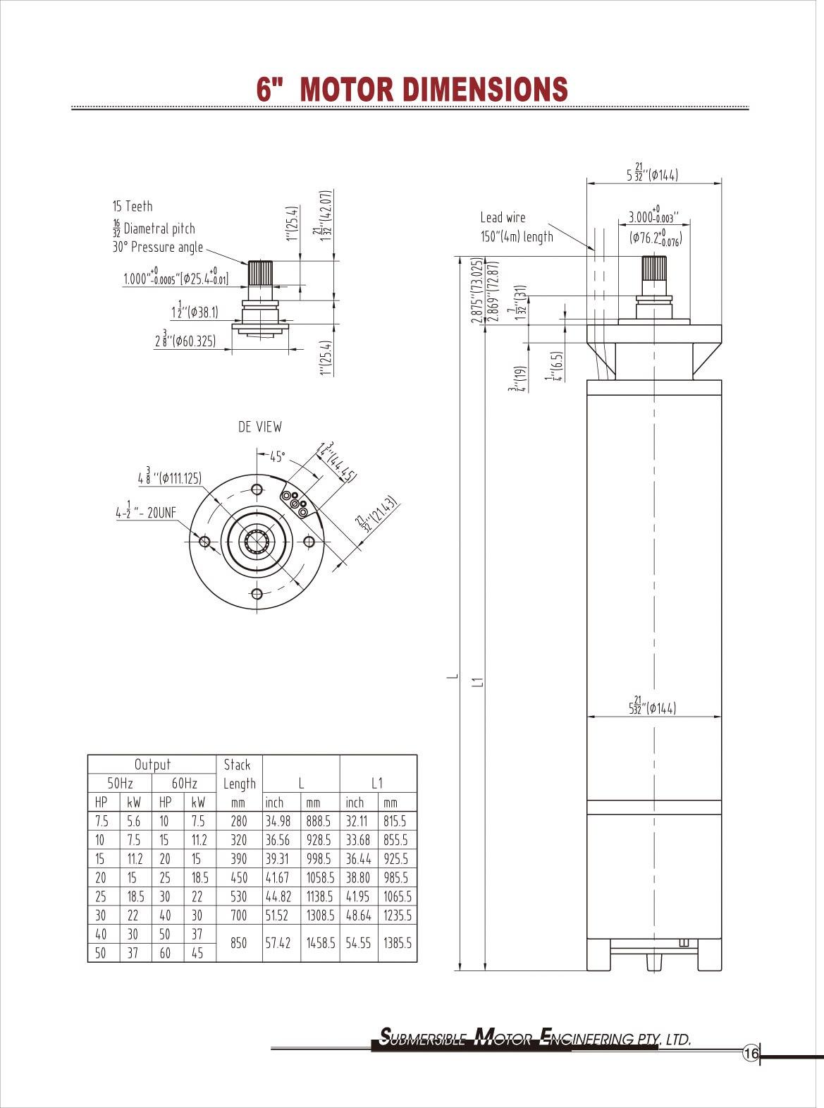 Outline Drawings - Submersible Motor Engineering